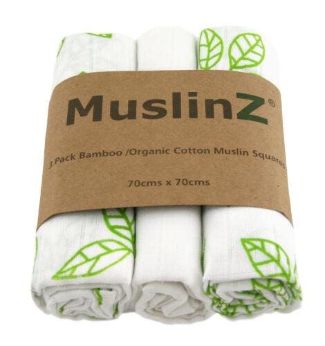 Muslinz 3pk 70cms Bambú//plazas de Muselina Algodón Orgánico Blanco//Greenleaf impresión