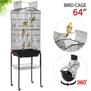 64-039-039-Play-Open-Top-Small-Parrot-Cockatiel-Conure-Parakeet-Bird-Cage-with-Stand