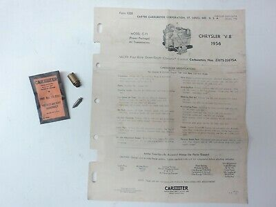 NOS CARTER NEEDLE /& SEAT ASSEMBLY 25-278S