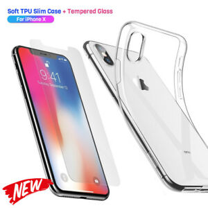 Displayschutzfolien-fuer-iPhone-XS-X-klar-Handy-Huelle-Silikon-Case-Schutz-Glas