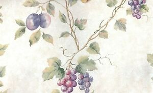 Wallpaper-Classic-Waverly-Grapes-Plum-Pear-amp-Cherry-Fruit-Vine-On-Faux
