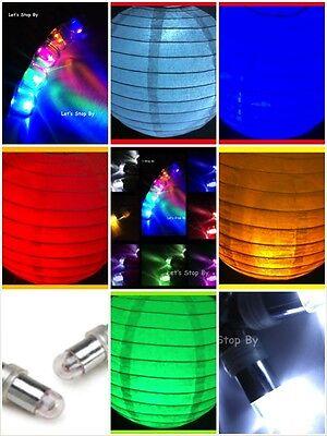 "White Round Paper Lanterns 8"" 10"" 12"" 16"" Wedding + LED Decor Colors Party Light"