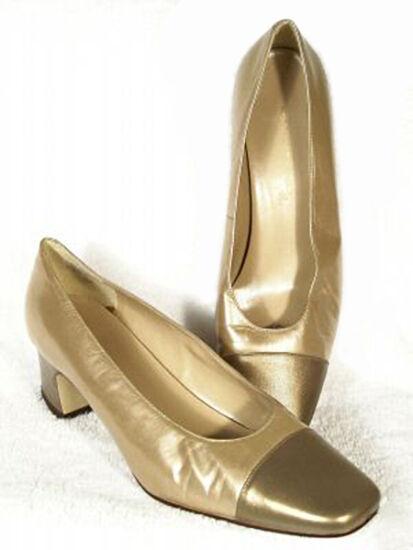 New BANDOLINO Damens Gold Leder Niedrig Heel Heel Heel Pump Dress Schuhe Sz 9.5 M 27f6d2