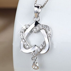 Fashion 925 silver plated women double heart pendant necklace chain image is loading fashion 925 silver plated women double heart pendant mozeypictures Image collections