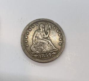 "1854 ""Arrows"" Seated Liberty Quarter Dollar Nice AU Near Mint Amazing Toning!"