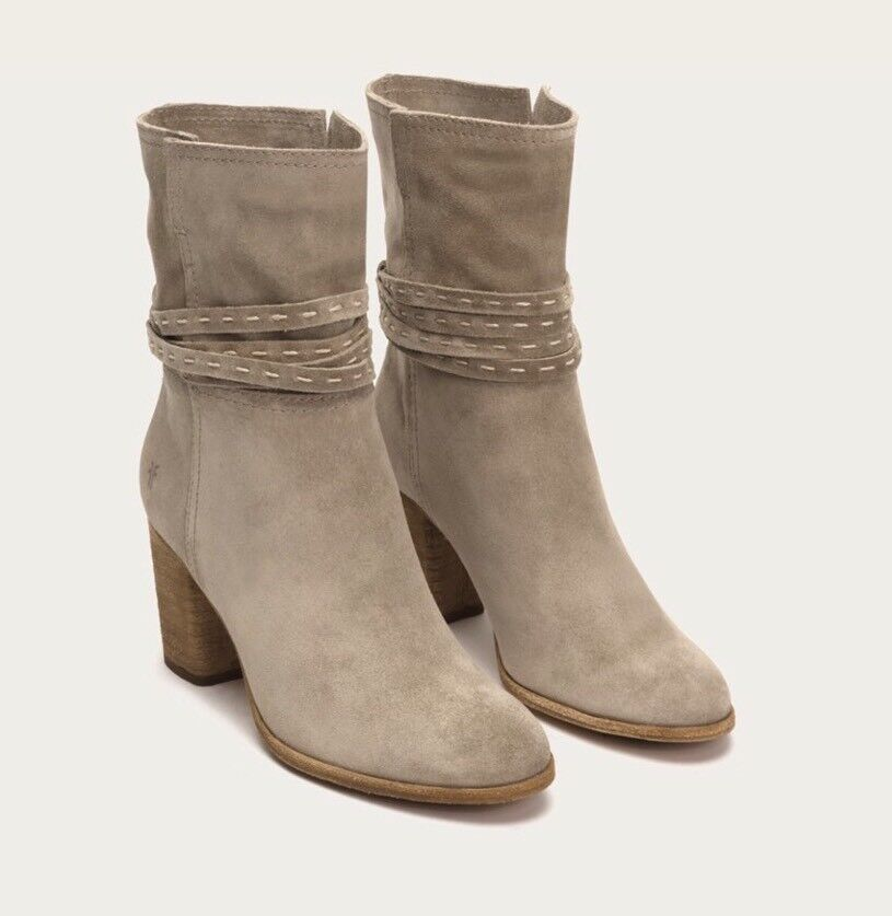 NEW FRYE Sz 7.5 NAOMI PICKSTITCH MID Stiefel CALF HEEL BOOTIES Stiefel MID ASH SUEDE $378 52bf4d