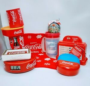Lot-Of-10-Vintage-Coca-Cola-Coke-Items-Ornament-Tin-Tray-Can-etc-pre-owned