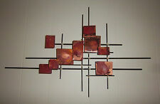 MID CENTURY ABSTRACT METAL ROD WALL SCULPTURE WITH ENAMEL ACCENTS SIGNED