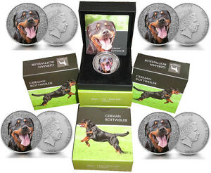 5-x-Niue-1-Oz-Silber-German-Rottweiler-2015-Etui-Watch-and-Guard-Dogs-Serie