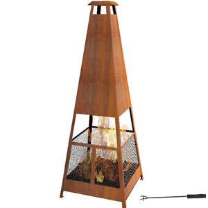 165cm Rust Fire Pit Chimney Chimenea Fireplace Patio Heater W Rain