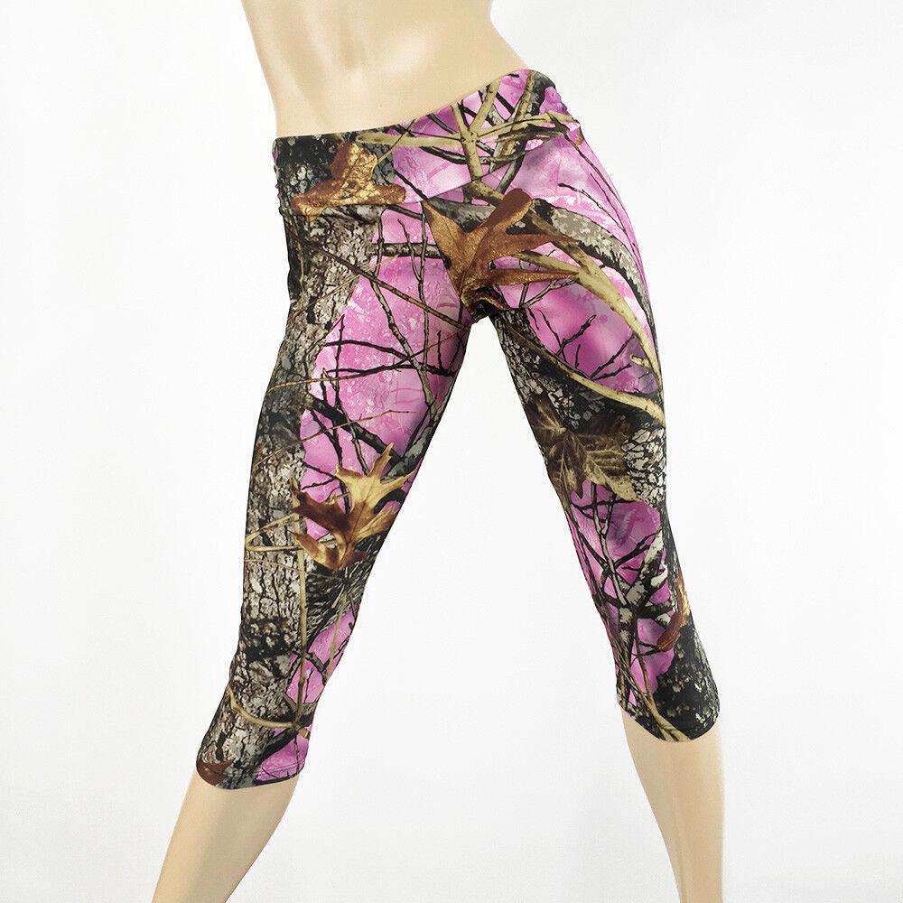 Pink Camo Pants Camouflage Hot Yoga Capri Pants Low Rise Bikram Workout Pant USA