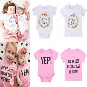 Mother & Kids Big/little Sister Newborn Kids Baby Boy Romper Bodysuit Sunsuit Clothes Outfits