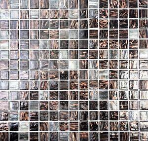 Mosaico piastrella vetro marrone nero oro muro cucina bagno: 54-0108 ...