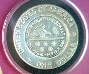 1980 Mel Wacks USA Winter Olympics In Lake Placid on 76-S 40% Silver Ike Dollar