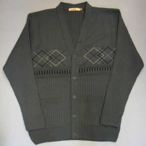 Adults Mens Button Cardigan Jacquard Style Knit Design Jumper Knitted Pockets 31