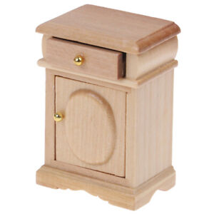 1-12-Dollhouse-Miniature-Wood-Color-Bedside-Table-Cabinet-Model-Furniture-Toy-YK