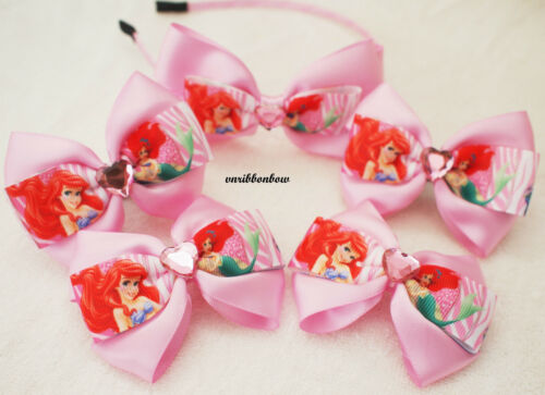 Handmade girl children PINK princess Ariel ribbon bow hair clip bobbles headband