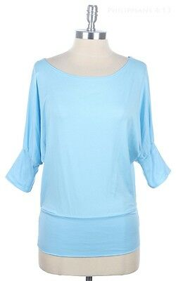 Solid Dolman Batwing Casual Top Wide Round Neck 3/4 Sleeve Solid Shirt S M L
