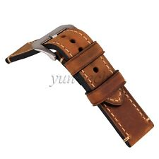 Brown 24mm Genuine Leather Watchband Watch Strap Band Vintage Wristwatch Band