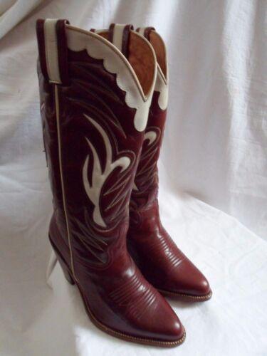 R Western in Cowboy Tan pelle Soles Uk 5 100 lavorata White Boots 3 Borgogna rqW6rBw8z