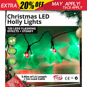 Christmas LED Holly Lights 120 LEDs Flashing Effects + Steady