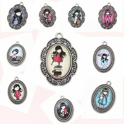 5pcs Vintage Silver Glass Girls Patterns Charms Alloy Oval Pendant Findings D