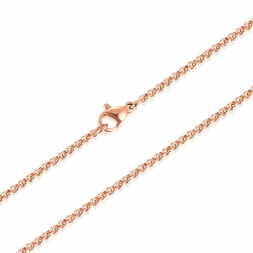 """2MM Stainless Steel Rose Gold Rolo Cable Wheat Chain Women Men Necklace 16/""""-36/"""""""