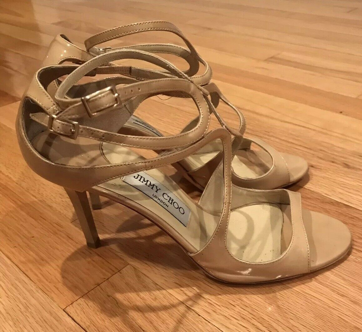 Jimmy Choo Nude Patent Leather Ankle Strap Cage Sandal Heel - 39