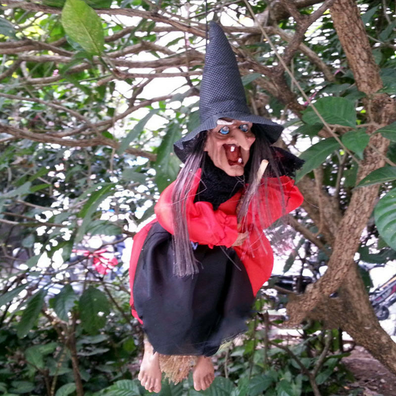 """12""""Halloween Hanging Animated Talking Witch Props Laughing Sound Control Decor E 5"""