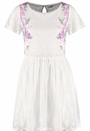 Molly Bracken 10 Dress Floral White Nouveau 'Summer Ladies Uk Med 12 ddr8wq