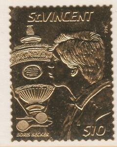 St-Vincent-4193-1987-TENNIS-Boris-Becker-in-GOLD-FOIL-unmounted-mint