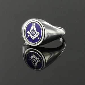Solid-Silver-Square-and-Compass-Reversible-Swivel-Head-Masonic-Ring-Blue-Enamel