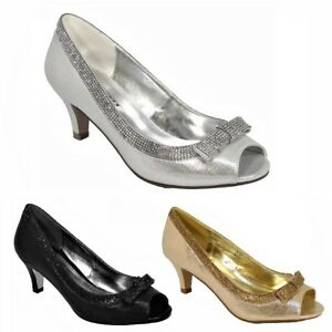 4f24801ca6d WOMENS LADIES LOW KITTEN HEELS COURT SHOES OPEN TOE WEDDING DIAMANTE ...