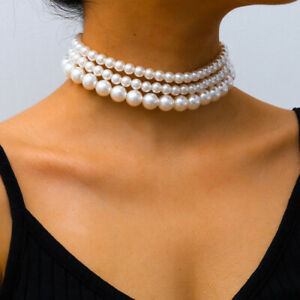 Three Layer Round Imitation Pearl Necklace Choker Bead Collar 3 Pieces