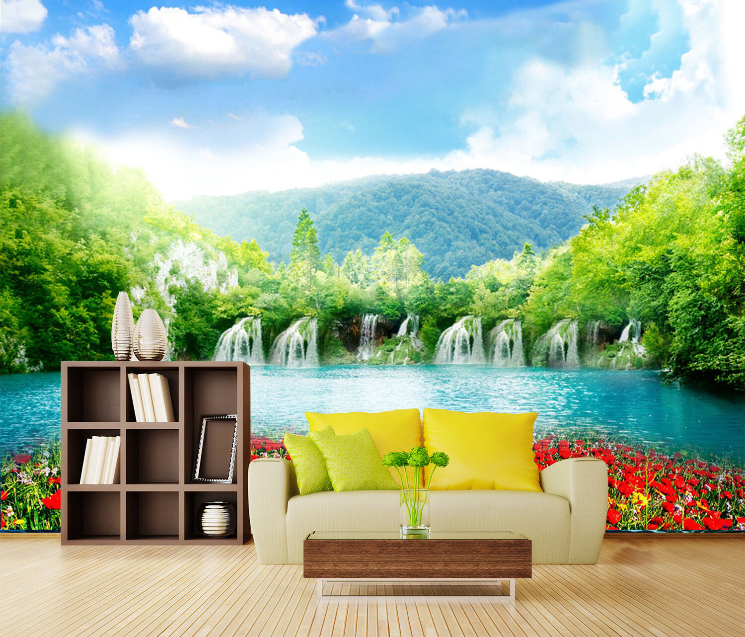 3D Lake, flowers hills 3243 Wall Paper Print Wall Decal Deco Indoor Wall Murals