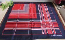 "VTG FIORINI Red White & Blue Polyester Scarf w Brass Charm, 31"" SQ ~PATRIOTIC"
