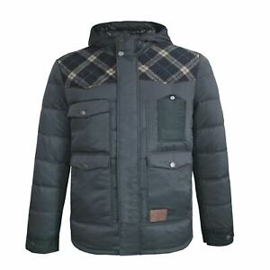 Lee Cooper Mens Check Patch Jacket Insulated Coat Top
