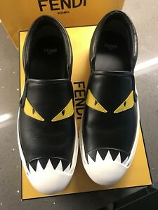 b2c4ac27 Details about FENDI monster Slip on in calfskin shoes sneakers black yellow  6.5 EU37