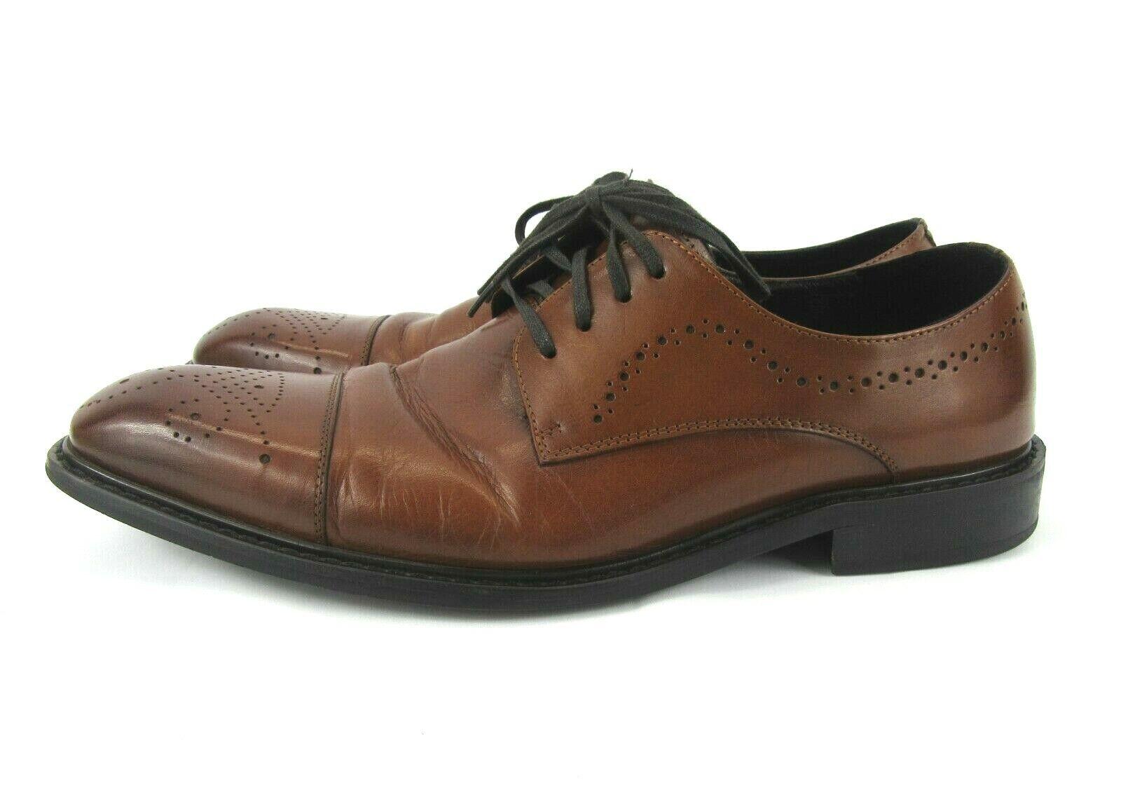 Kenneth Cole Hustle Back Mens Size 11 M Cognac Brown Lace-Up Oxford Dress Shoes