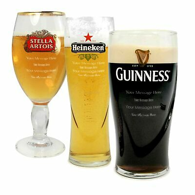 Personalised Branded Pint Guinness Draught Extra Cold Glass Engraved Gift
