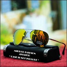 Mens Womens Aviator Sunglasses Fashion Driving Gold Yellow Mix Mirrored Lens New