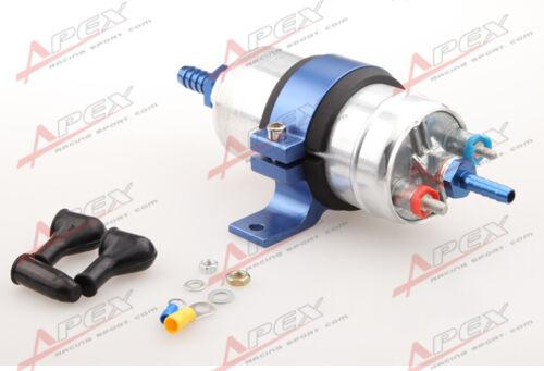 """External Fuel Pump 044 For Bosch+Billet Bracket Blue+1//2/"""" Inlet 5//16/""""Outlet Barb"""