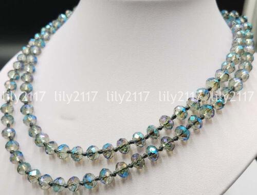 """Pretty à facettes 5x8mm Aurora Borealis Multi-Color Crystal Gems Blotter Perles Collier 38/"""""""