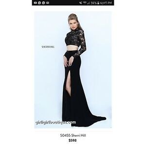05f185a7be204c1 Image is loading Sherri-Hill-Black-Two-Piece-Prom-Dress-Formal-
