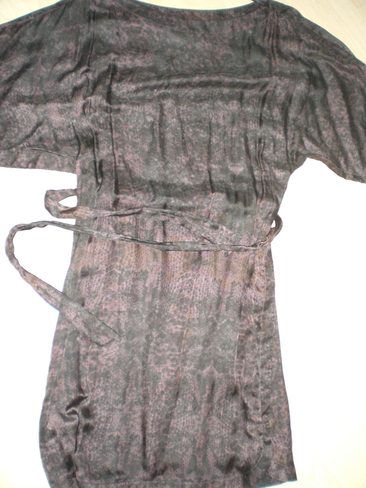 Joop Damenkleid Seide baumwolle dunkel braun schwarz Gr. 38 1 4 Arm Gürtel