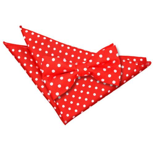 DQT Woven Polka Dot Formal Casual Pre-Tied Mens Bow Tie /& Handkerchief Set