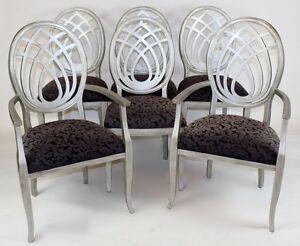 Image Is Loading Set Of 6 Italian Silver Painted Sigla Furniture