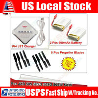 2x 3.7v 600mah Battery+jst 4in1 Charger+8x Propeller For Jxd 509g 509w Rc Drone