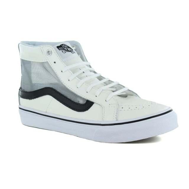 e235be77a2d Vans VN0004KZISZ Sk8-Hi Slim Cutout Womens Leather Skate Shoes White   Black