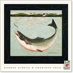 art-print-LAKE-TROUT-Warren-Kimble-fish-fishing-lure-primitive-folk-18x18